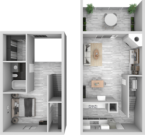 A2 - One Bedroom / One Bath - 807 Sq. Ft.*